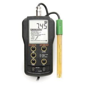 Портативный многоцелевой рН-метр для точного измерения рН, мВ и температуры в комплекте со стеклянным электродом для плоских поверхностей (бумаги, кожи и т.п.)